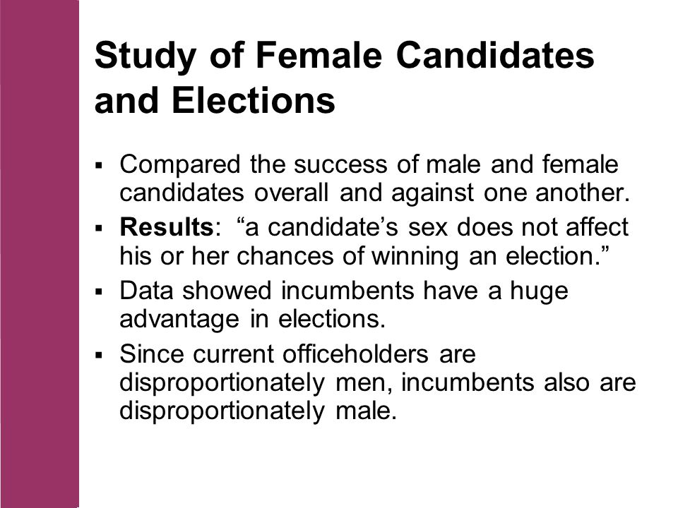 Study of Female Candidates and Elections  Compared the success of male and female candidates overall and against one another.