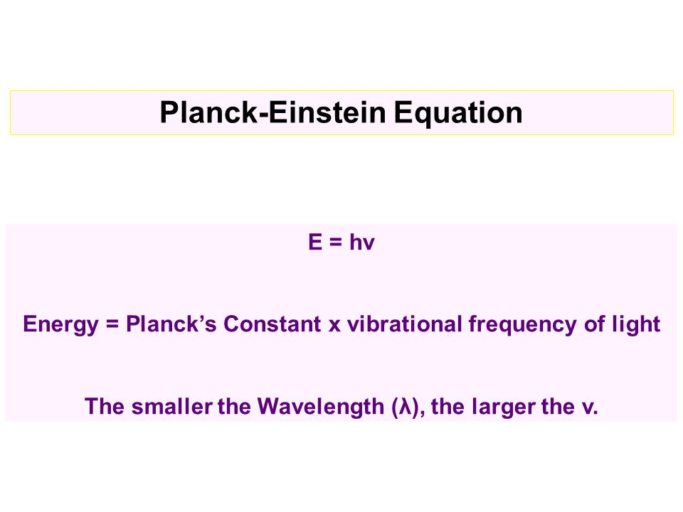 E = hν Energy = Planck's Constant x vibrational frequency of light The smaller the Wavelength (λ), the larger the v.