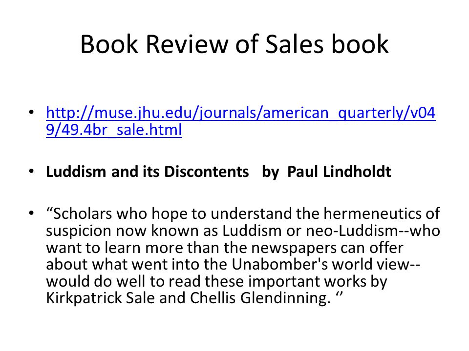 Book Review of Sales book http://muse.jhu.edu/journals/american_quarterly/v04 9/49.4br_sale.html http://muse.jhu.edu/journals/american_quarterly/v04 9