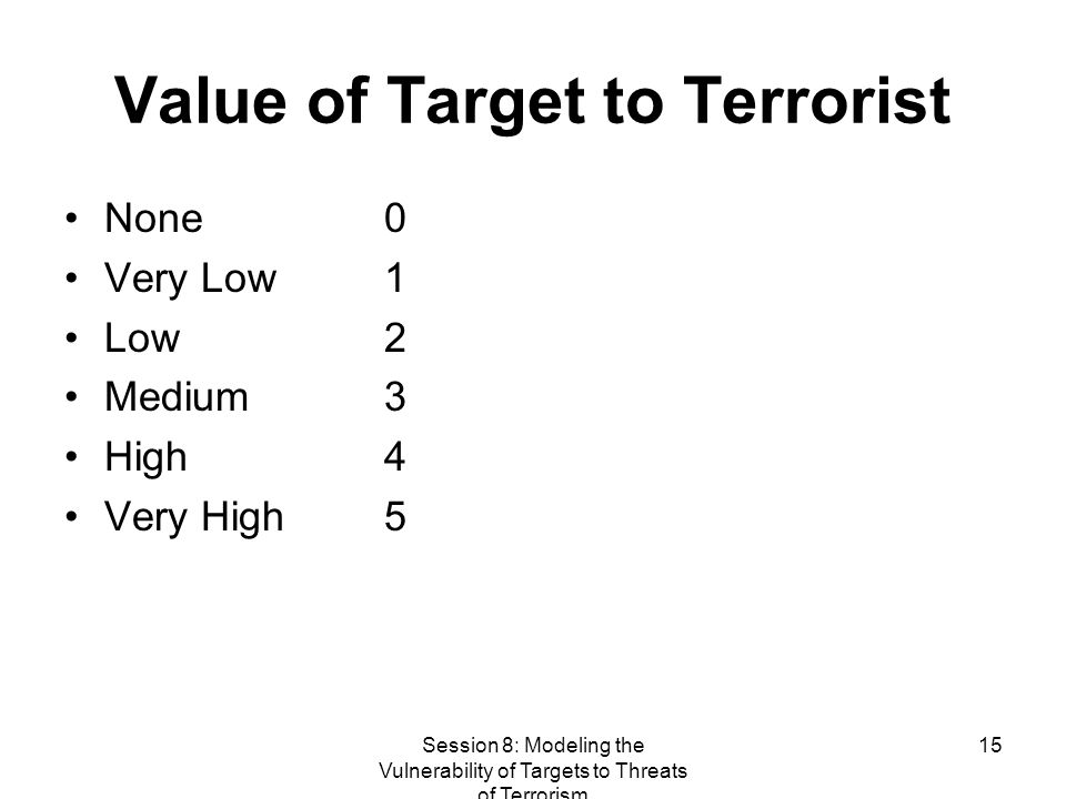 Session 8: Modeling the Vulnerability of Targets to Threats of Terrorism 15 Value of Target to Terrorist None 0 Very Low 1 Low 2 Medium 3 High 4 Very High 5