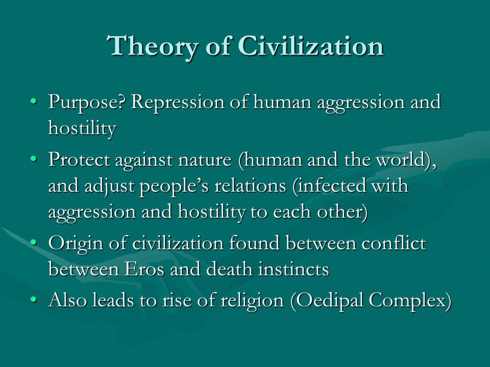 Theory of Civilization Purpose? Repression of human aggression and hostilityPurpose? Repression of human aggression and hostility Protect against natu