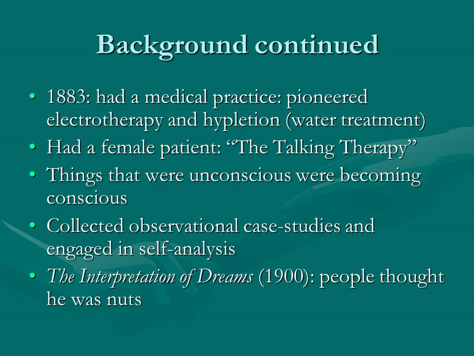 Background continued 1883: had a medical practice: pioneered electrotherapy and hypletion (water treatment)1883: had a medical practice: pioneered ele