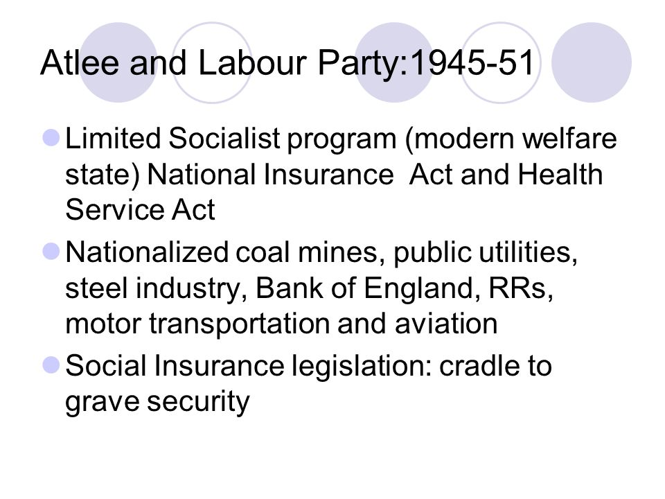 Atlee and Labour Party:1945-51 Limited Socialist program (modern welfare state) National Insurance Act and Health Service Act Nationalized coal mines, public utilities, steel industry, Bank of England, RRs, motor transportation and aviation Social Insurance legislation: cradle to grave security