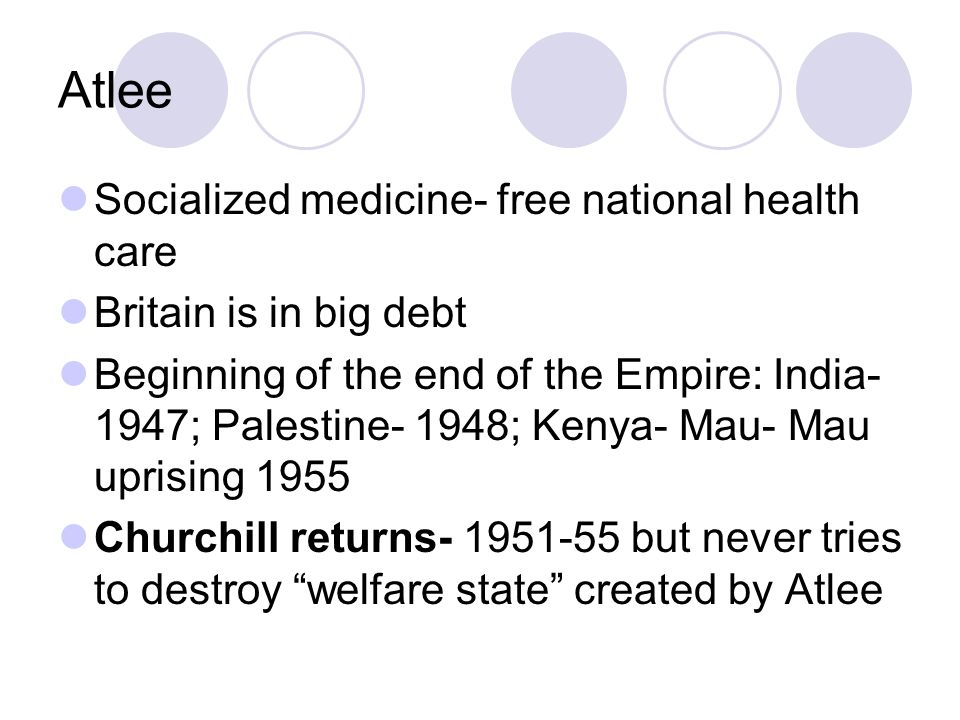 Atlee Socialized medicine- free national health care Britain is in big debt Beginning of the end of the Empire: India- 1947; Palestine- 1948; Kenya- Mau- Mau uprising 1955 Churchill returns- 1951-55 but never tries to destroy welfare state created by Atlee