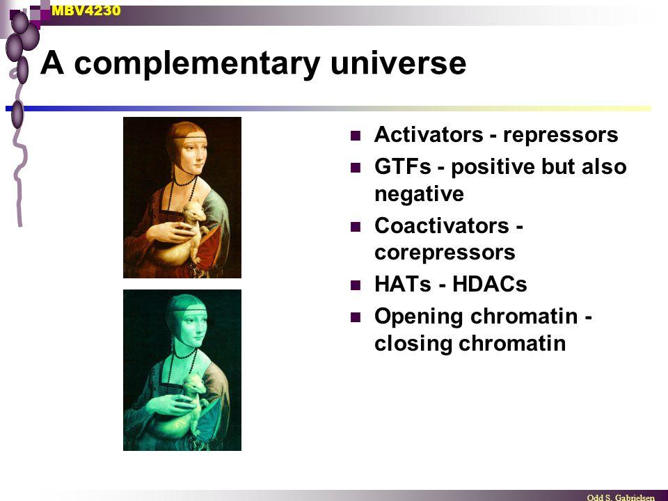 MBV4230 Odd S. Gabrielsen A complementary universe Activators - repressors GTFs - positive but also negative Coactivators - corepressors HATs - HDACs