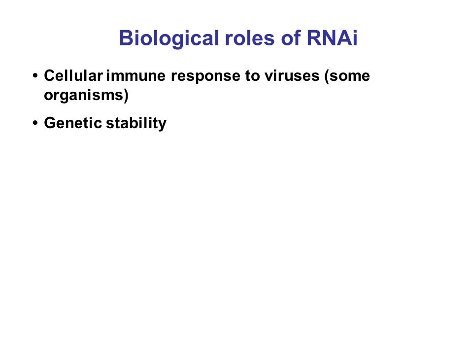 Biological roles of RNAi Cellular immune response to viruses (some organisms) Genetic stability