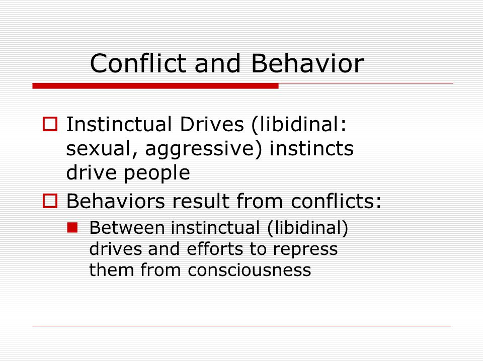 Conflict and Behavior  Instinctual Drives (libidinal: sexual, aggressive) instincts drive people  Behaviors result from conflicts: Between instinctual (libidinal) drives and efforts to repress them from consciousness