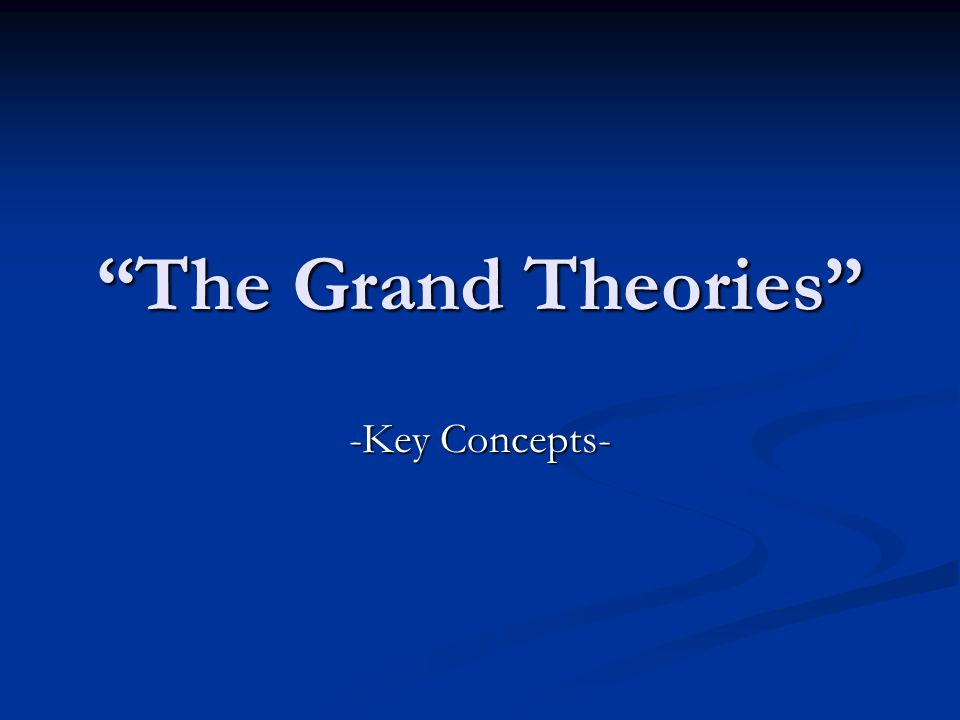 The Grand Theories -Key Concepts-