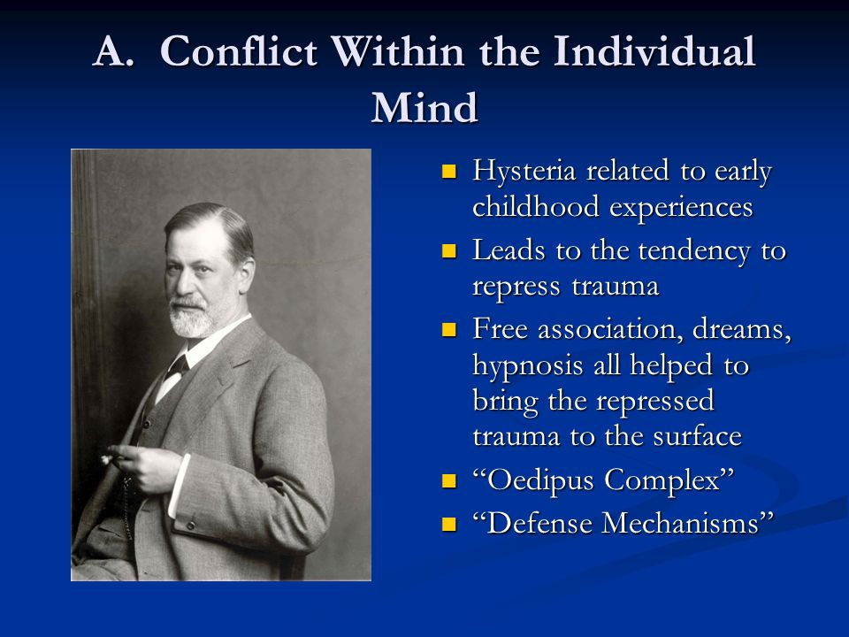 A. Conflict Within the Individual Mind Hysteria related to early childhood experiences Leads to the tendency to repress trauma Free association, dream