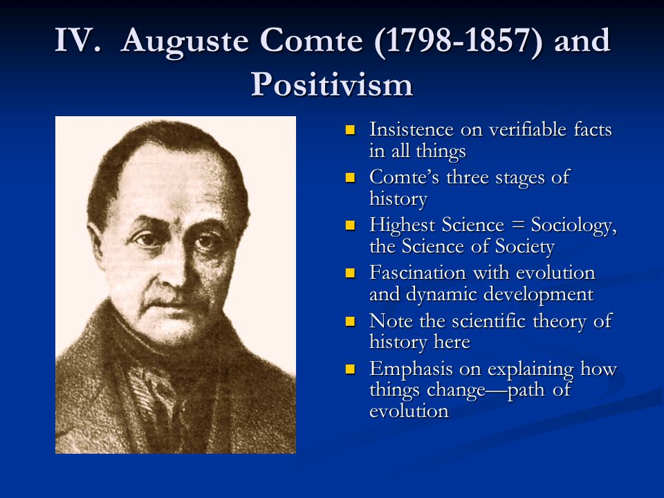 IV. Auguste Comte (1798-1857) and Positivism Insistence on verifiable facts in all things Comte's three stages of history Highest Science = Sociology,