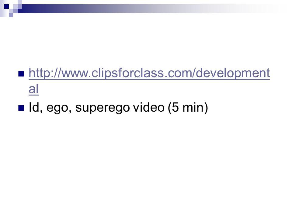 http://www.clipsforclass.com/development al http://www.clipsforclass.com/development al Id, ego, superego video (5 min)