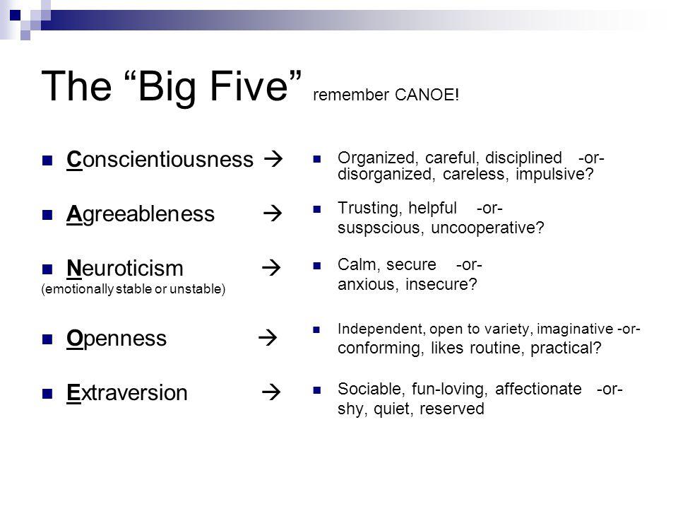 The Big Five remember CANOE.