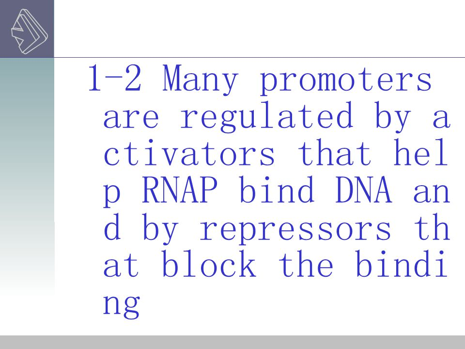 1-2 Many promoters are regulated by a ctivators that hel p RNAP bind DNA an d by repressors th at block the bindi ng