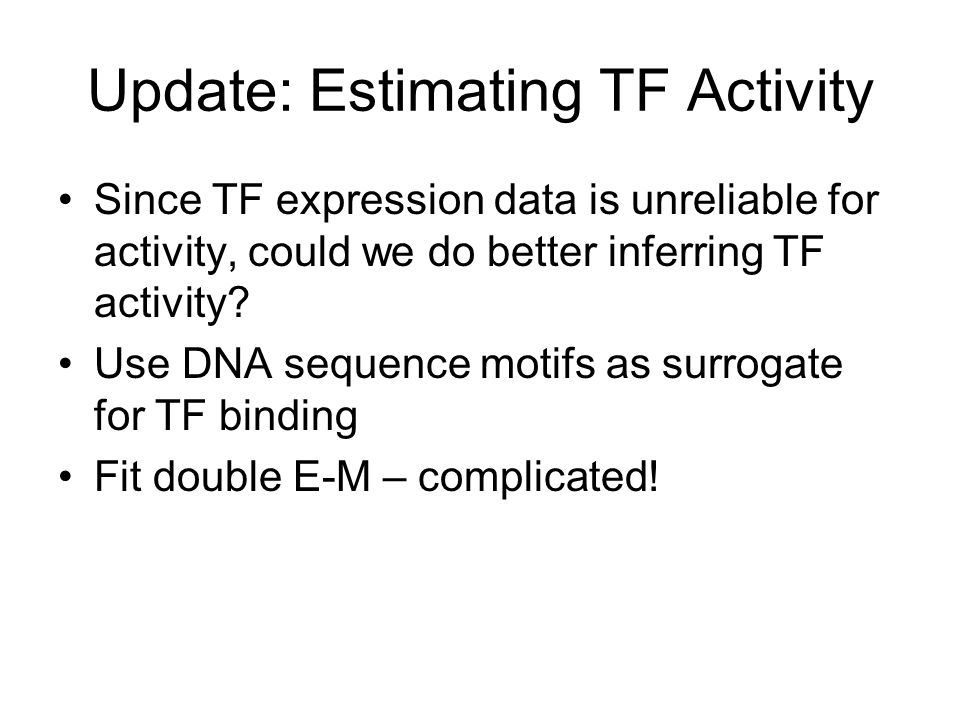 Update: Estimating TF Activity Since TF expression data is unreliable for activity, could we do better inferring TF activity.