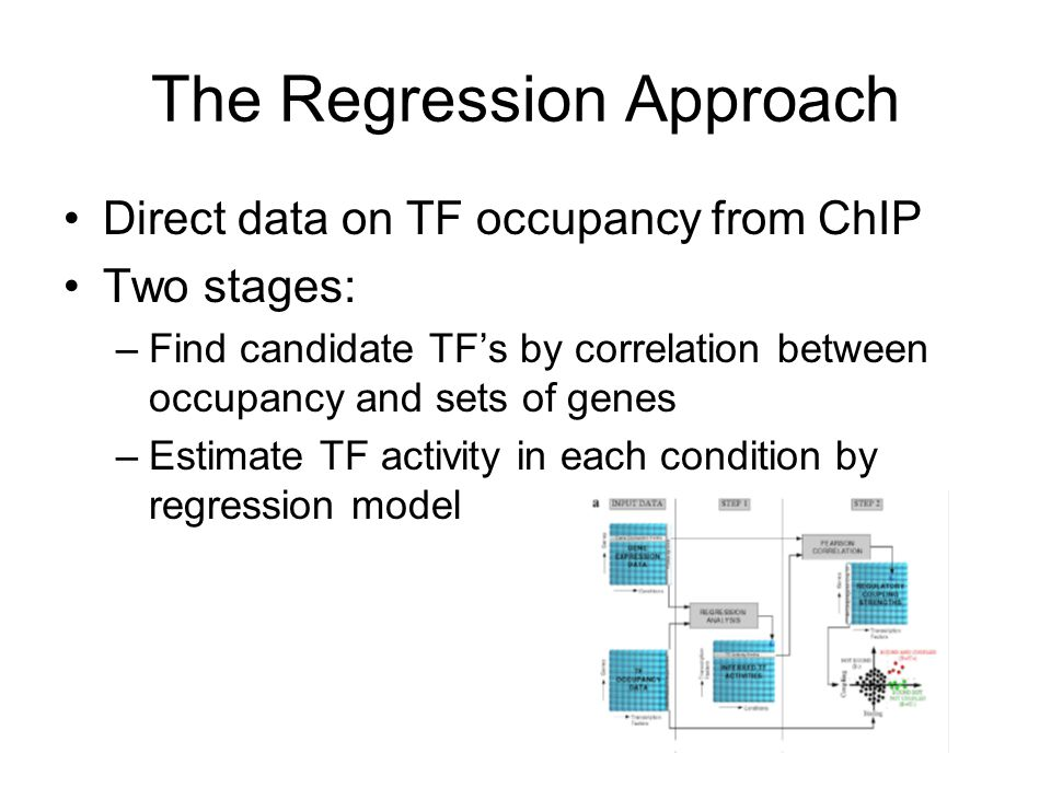 The Regression Approach Direct data on TF occupancy from ChIP Two stages: –Find candidate TF's by correlation between occupancy and sets of genes –Estimate TF activity in each condition by regression model