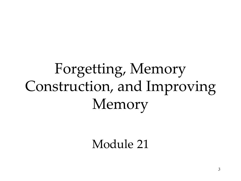 Forgetting, Memory Construction, and Improving Memory Module 21 3