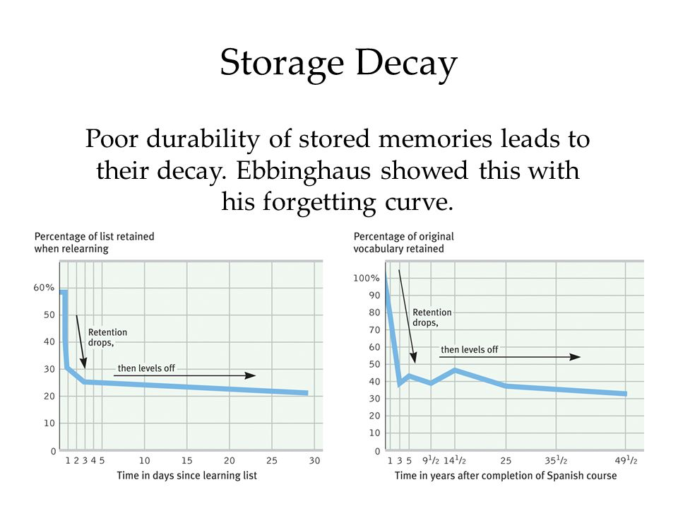 8 Storage Decay Poor durability of stored memories leads to their decay.