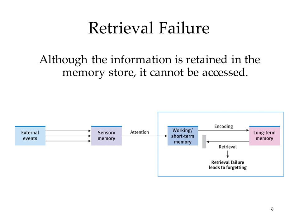9 Retrieval Failure Although the information is retained in the memory store, it cannot be accessed.