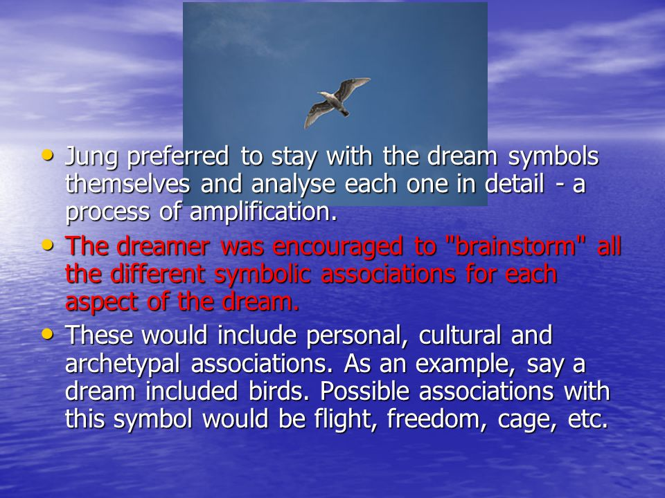Jung preferred to stay with the dream symbols themselves and analyse each one in detail - a process of amplification.