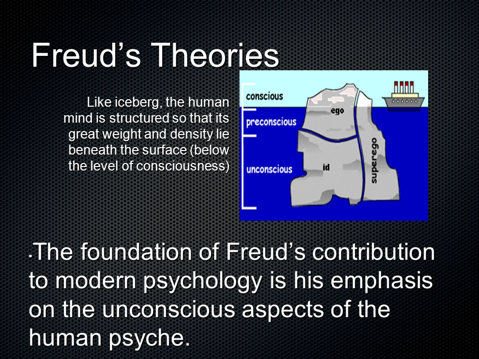 Freud's Theories The foundation of Freud's contribution to modern psychology is his emphasis on the unconscious aspects of the human psyche. The found