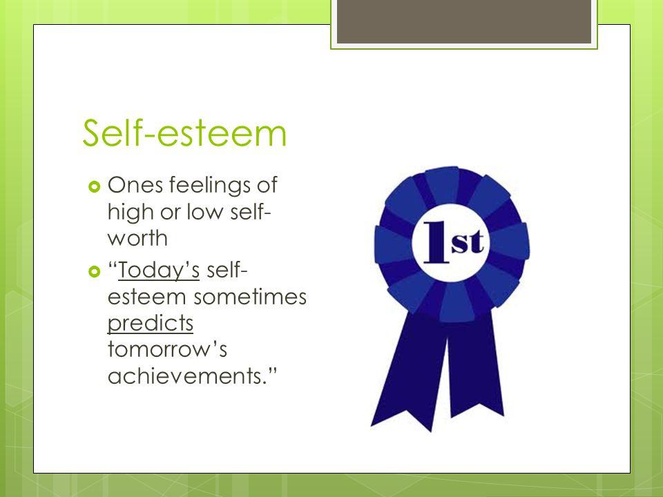 "Self-esteem  Ones feelings of high or low self- worth  ""Today's self- esteem sometimes predicts tomorrow's achievements."""