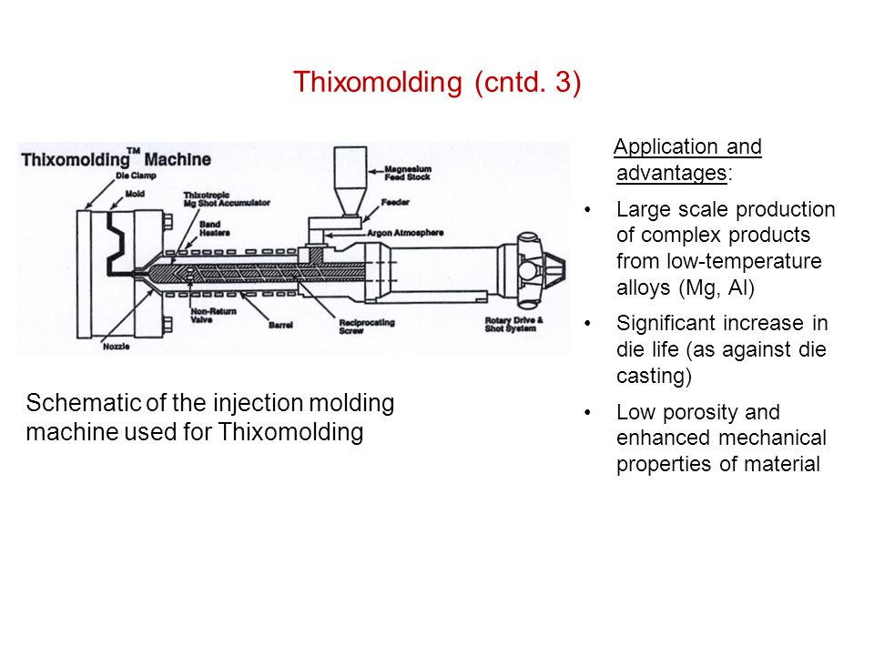 Thixomolding (cntd. 3) Application and advantages: Large scale production of complex products from low-temperature alloys (Mg, Al) Significant increas