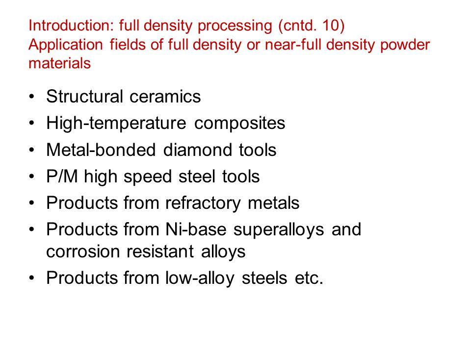 Introduction: full density processing (cntd. 10) Application fields of full density or near-full density powder materials Structural ceramics High-tem