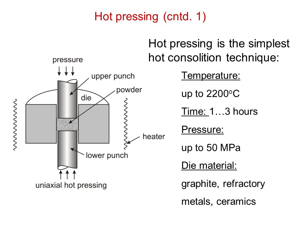 Hot pressing (cntd. 1) Temperature: up to 2200 o C Time: 1…3 hours Pressure: up to 50 MPa Die material: graphite, refractory metals, ceramics Hot pres