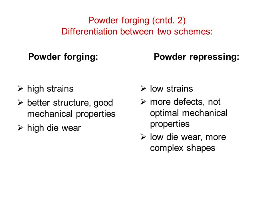 Powder forging (cntd. 2) Differentiation between two schemes: Powder forging: Powder repressing:  low strains  more defects, not optimal mechanical