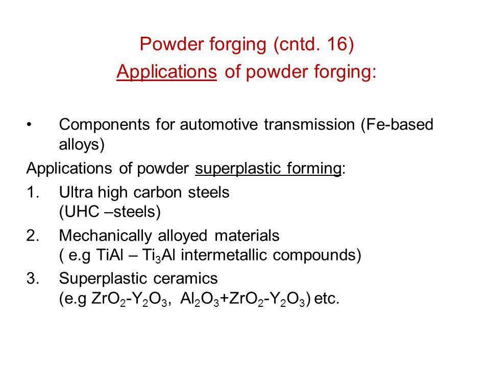 Powder forging (cntd. 16) Applications of powder forging: Components for automotive transmission (Fe-based alloys) Applications of powder superplastic