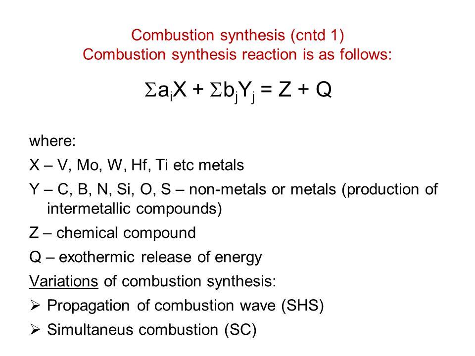 Combustion synthesis (cntd 1) Combustion synthesis reaction is as follows:  a i X +  b j Y j = Z + Q where: X – V, Mo, W, Hf, Ti etc metals Y – C, B