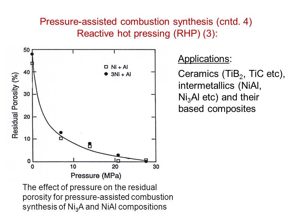 Pressure-assisted combustion synthesis (cntd. 4) Reactive hot pressing (RHP) (3): Applications: Ceramics (TiB 2, TiC etc), intermetallics (NiAl, Ni 3