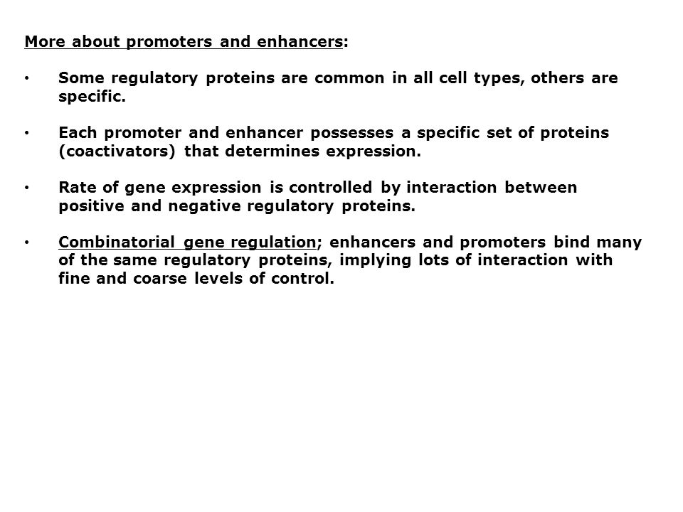 More about promoters and enhancers: Some regulatory proteins are common in all cell types, others are specific. Each promoter and enhancer possesses a