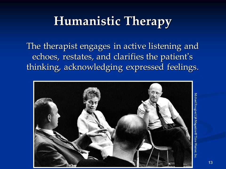 13 Humanistic Therapy The therapist engages in active listening and echoes, restates, and clarifies the patient's thinking, acknowledging expressed fe