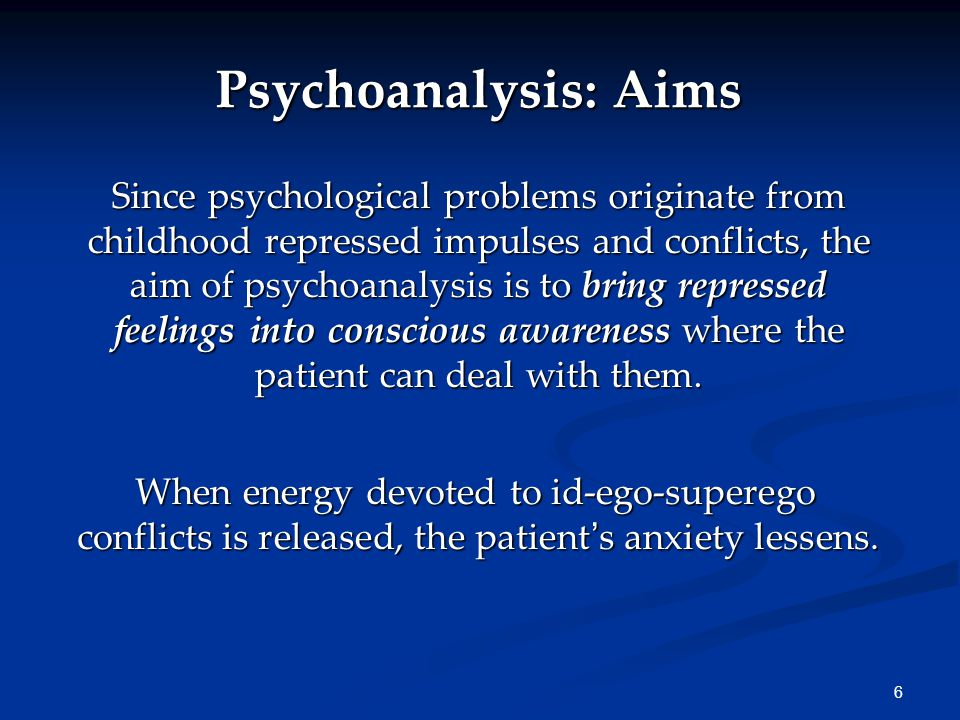 6 Psychoanalysis: Aims Since psychological problems originate from childhood repressed impulses and conflicts, the aim of psychoanalysis is to bring repressed feelings into conscious awareness where the patient can deal with them.