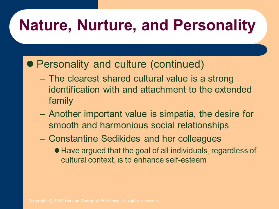 Copyright © 2007 Horizon Textgook Publishing All rights reserved Nature, Nurture, and Personality Personality and culture (continued) –The clearest sh
