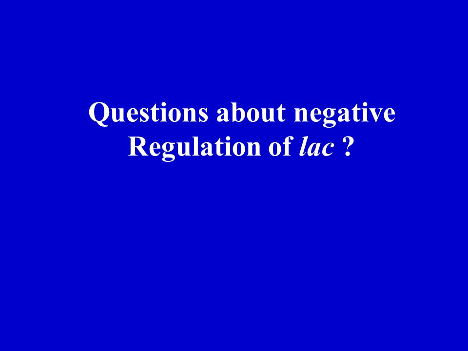Questions about negative Regulation of lac ?
