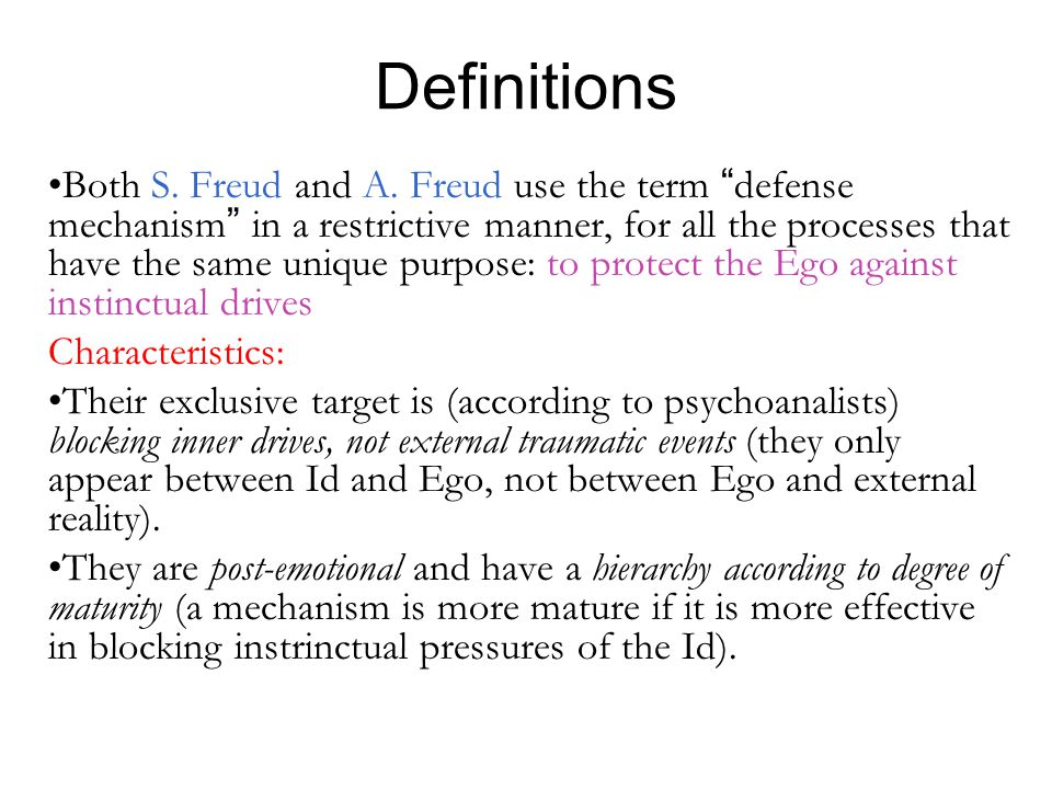 Definitions Both S.Freud and A.