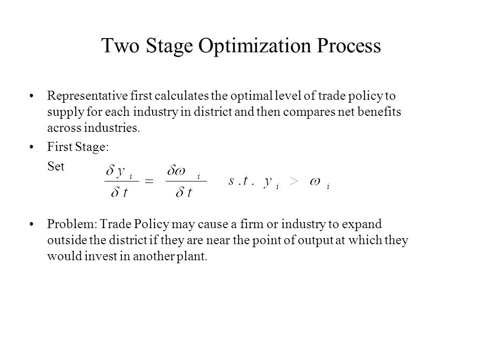 Two Stage Optimization Process Representative first calculates the optimal level of trade policy to supply for each industry in district and then compares net benefits across industries.
