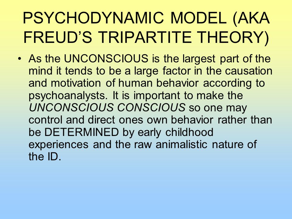 PSYCHODYNAMIC MODEL (AKA FREUD'S TRIPARTITE THEORY) As the UNCONSCIOUS is the largest part of the mind it tends to be a large factor in the causation and motivation of human behavior according to psychoanalysts.