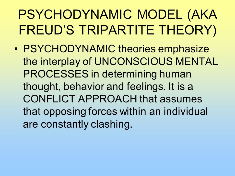 PSYCHODYNAMIC MODEL (AKA FREUD'S TRIPARTITE THEORY) PSYCHODYNAMIC theories emphasize the interplay of UNCONSCIOUS MENTAL PROCESSES in determining human thought, behavior and feelings.