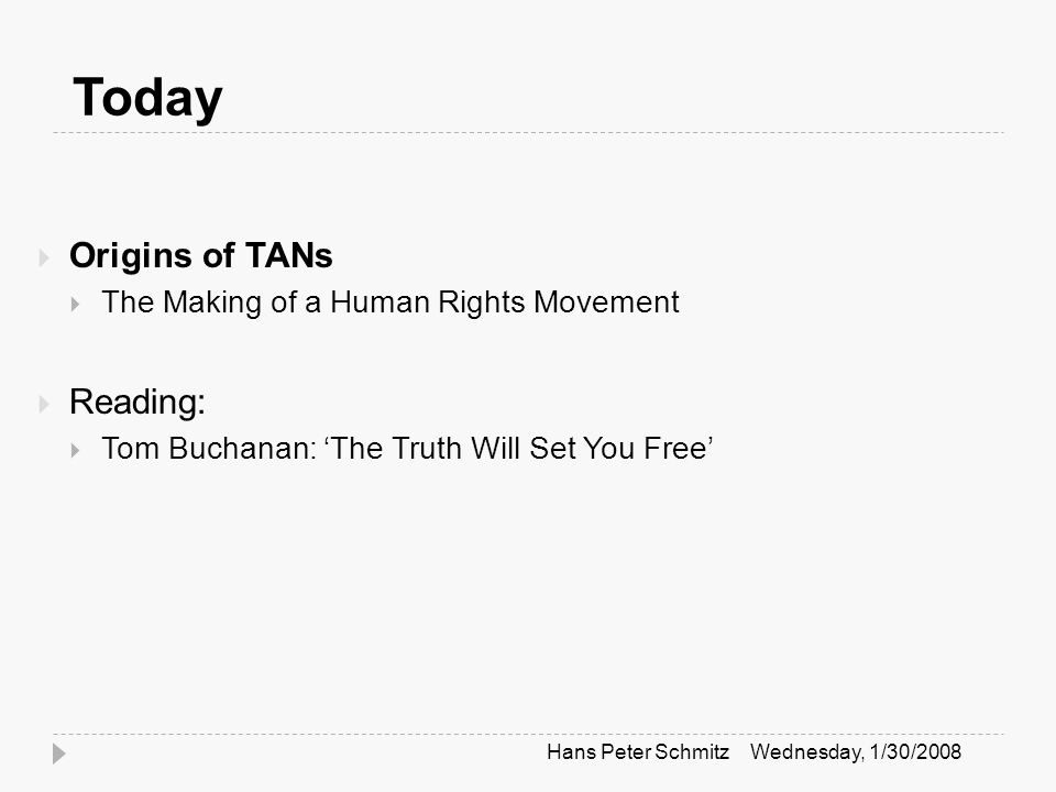 Today  Origins of TANs  The Making of a Human Rights Movement  Reading:  Tom Buchanan: 'The Truth Will Set You Free' Wednesday, 1/30/2008Hans Peter Schmitz