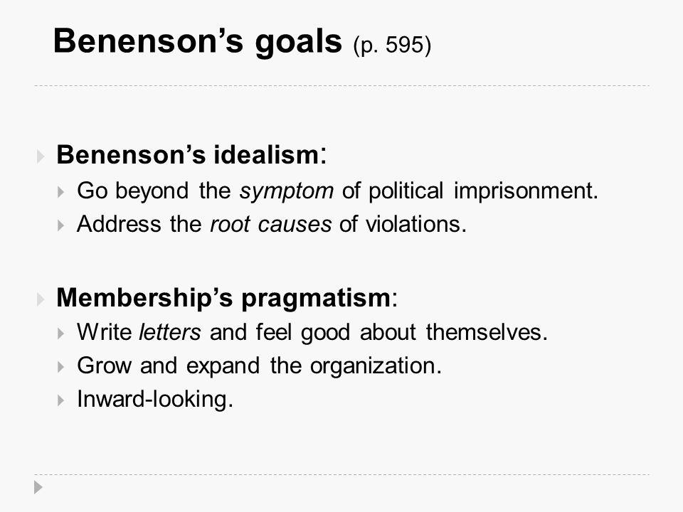 Benenson's goals (p.