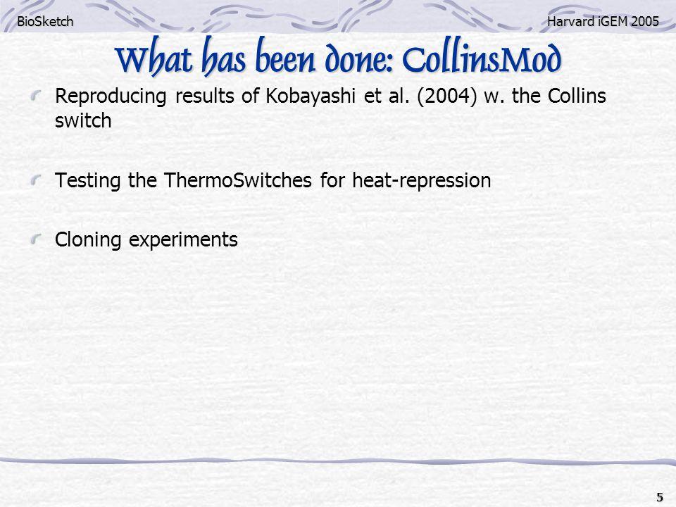 BioSketchHarvard iGEM 2005 5 What has been done: CollinsMod Reproducing results of Kobayashi et al.