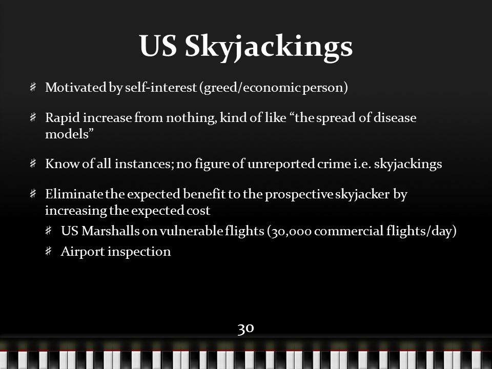 "30 US Skyjackings Motivated by self-interest (greed/economic person) Rapid increase from nothing, kind of like ""the spread of disease models"" Know of"