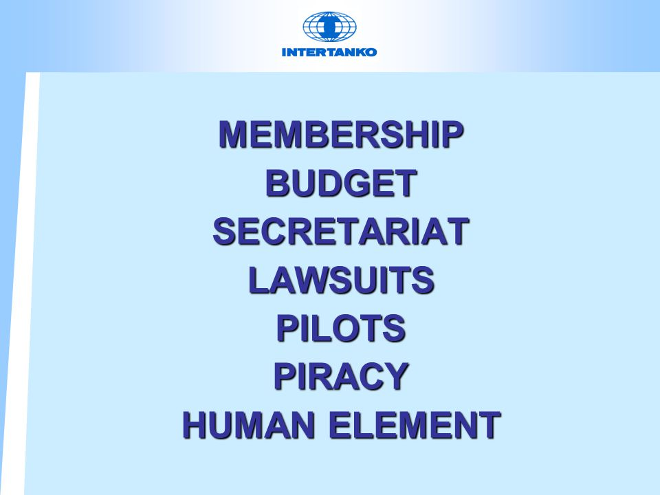 MEMBERSHIPBUDGETSECRETARIATLAWSUITSPILOTSPIRACY HUMAN ELEMENT