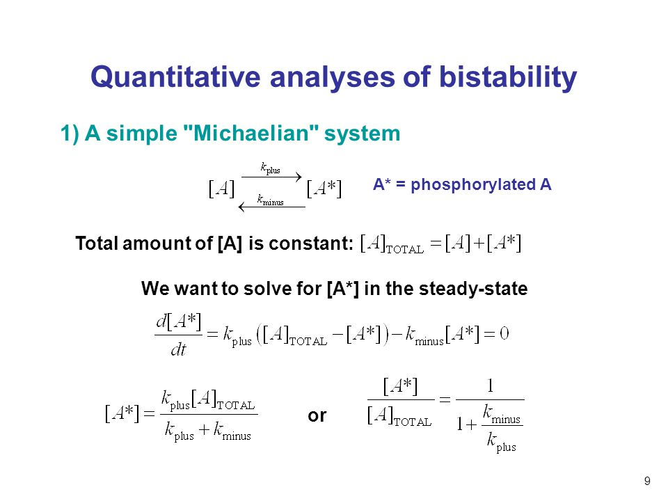 Quantitative analyses of bistability 1) A simple Michaelian system A* = phosphorylated A Total amount of [A] is constant: We want to solve for [A*] in the steady-state or 9