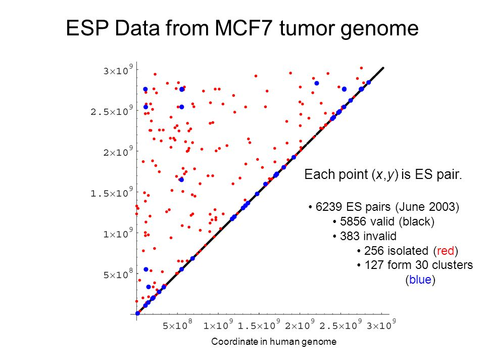 ESP Data from MCF7 tumor genome Each point (x,y) is ES pair.
