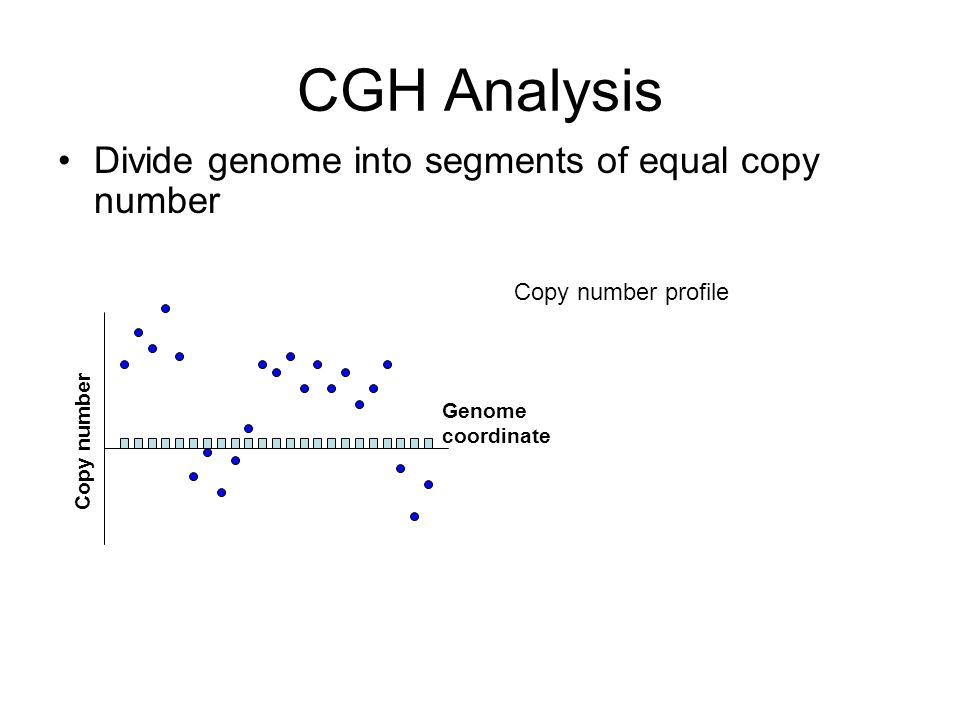 CGH Analysis Divide genome into segments of equal copy number Copy number profile Copy number Genome coordinate