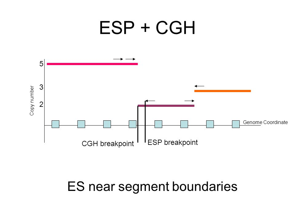 ESP + CGH ES near segment boundaries Copy number Genome Coordinate 3 2 5 CGH breakpoint ESP breakpoint